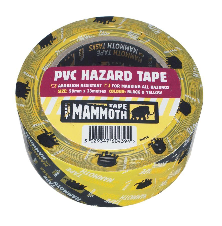 PVC HAZARD WARNING TAPE - BLACK/YELLOW 50MM X 33M