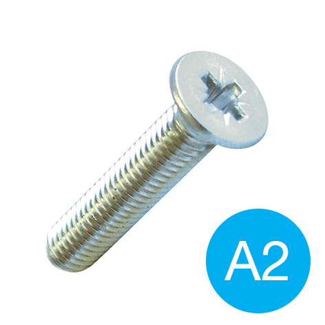 MACHINE SCREW - CSK POZI A2 S/S M 4 X 12
