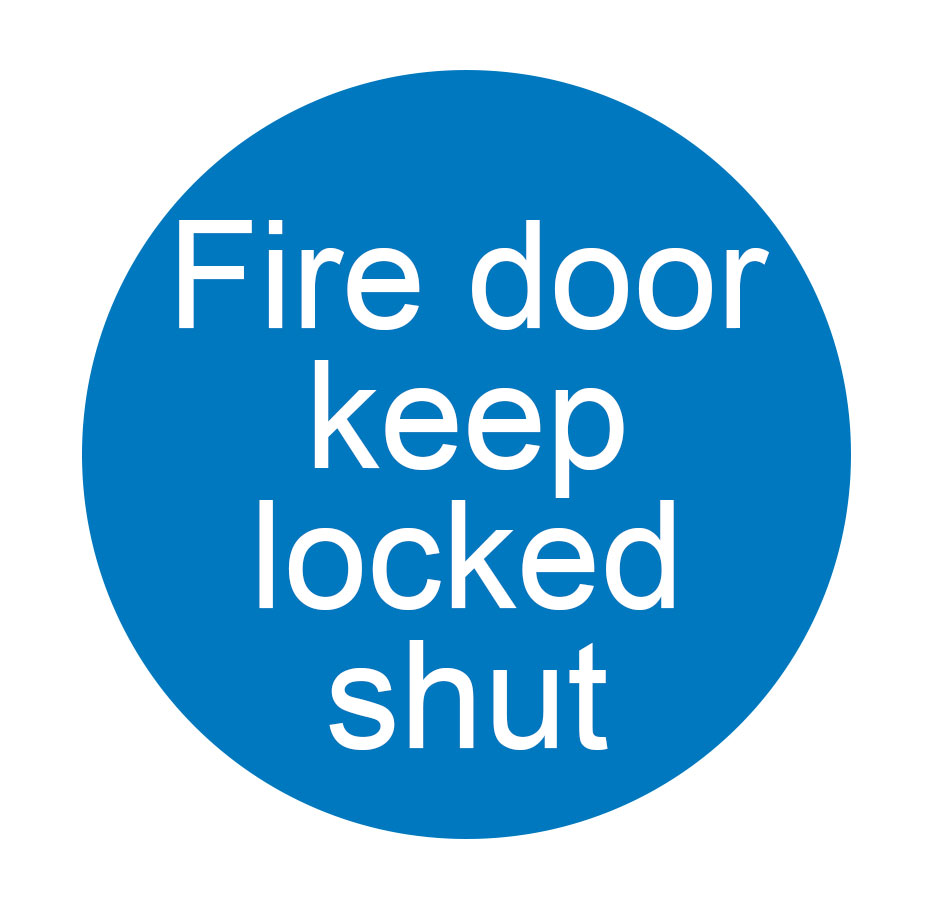 SIGN - FIRE DOOR KEEP LOCKED SHUT SA  90 X 90MM BLUE/WHITE