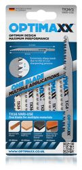 OPTIMAXX JIGSAW BLADES - TX36/5 VARI-USE WOOD/LAMINATE/PLASTIC BLADE (PACK OF 5)
