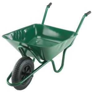 90L GREEN CONTRACTORS WHEEL BARROW WITH PNEUMATIC TYRE