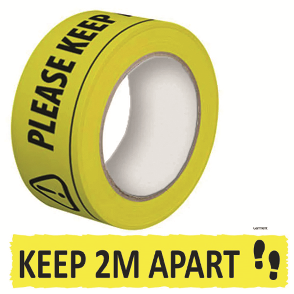 SOCIAL DISTANCING 'PLEASE KEEP A SAFE DISTANCE OF 2 METERS' PERMANENT ADHESIVE LAMINATED TAPE 50MM X 33M