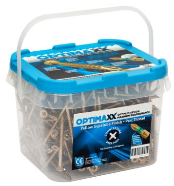 OPTIMAXX PERFORMANCE WOODSCREW MAXXTUB 5.0 X 90 (320PCS) + WERA PZ2 BIT