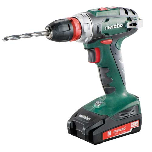 METABO 18V CORDLESS DRILL DRIVER - QUICK 2 X 2.0AH BATTERIES & CHARGER + CASE