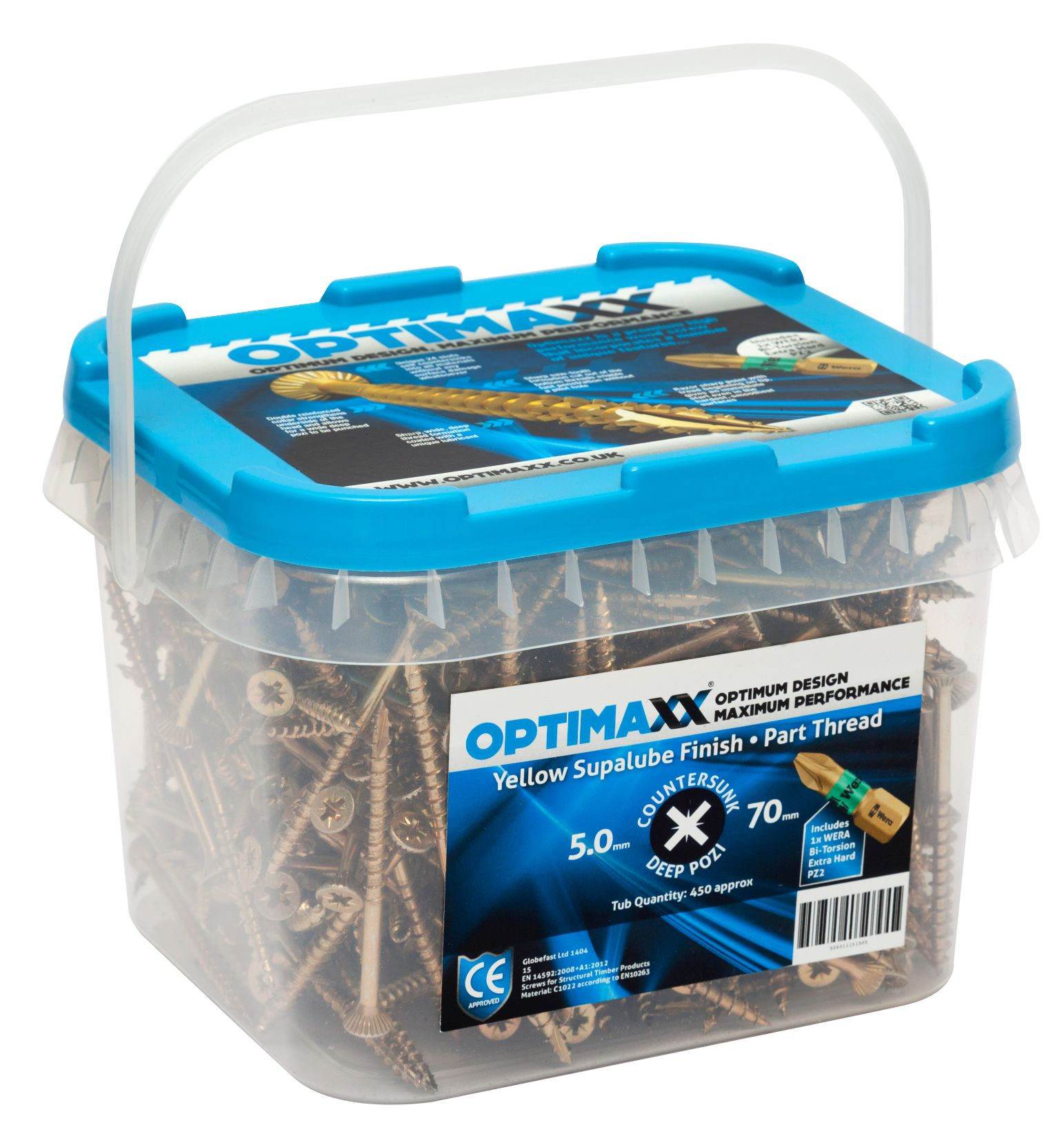 OPTIMAXX PERFORMANCE WOODSCREW MAXXTUB 5.0 X 100 (275PCS) + WERA PZ2 BIT
