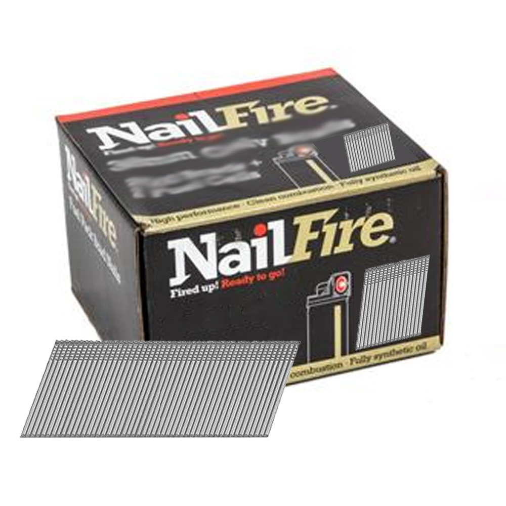 NAILFIRE 2ND FIX ANGLED STAINLESS STEEL BRAD & FUEL PACK 45MM (TUB OF 2000)