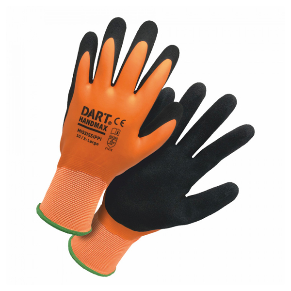 HANDMAX ORANGE WATERPROOF LATEX GLOVE SIZE 9 (L)