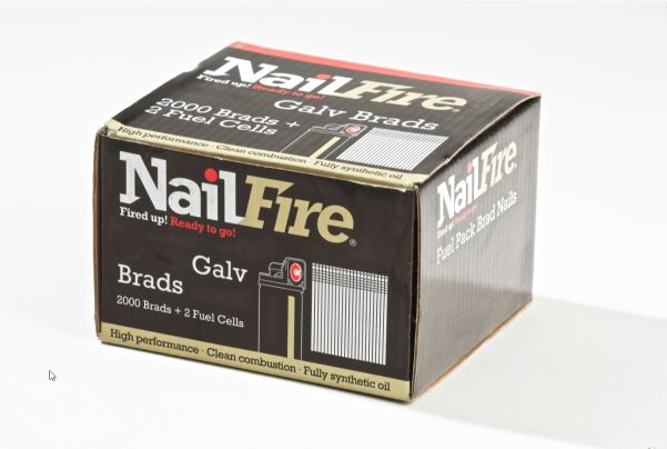NAILFIRE 2ND FIX STRAIGHT E-GALV BRAD & FUEL PACK 19MM (TUB OF 2000)