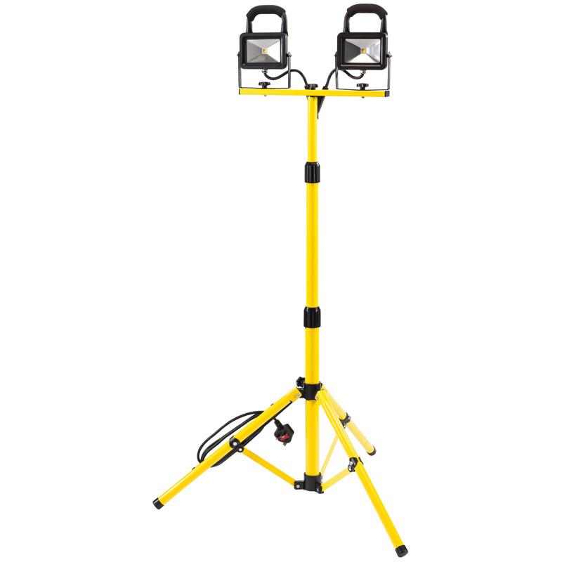 DRAPER 2X10W (1300 LUMENS) TWIN COB LED TRIPOD/STAND FLOODLIGHT SITE LAMP 240V (1300 LUMENS)