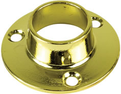 WARDROBE RAIL ROD SOCKET 19MM BRASS