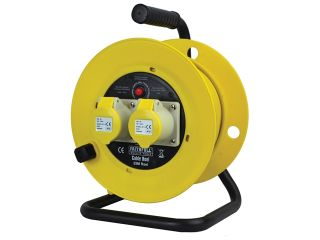 CABLE REEL 25M 16AMP TWIN SOCKET 110V