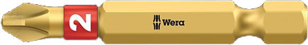 SCREWDRIVER INSERT BIT - WERA PHILLIPS PH1 X  50MM BI-TORSION EXTRA HARD (GOLD)