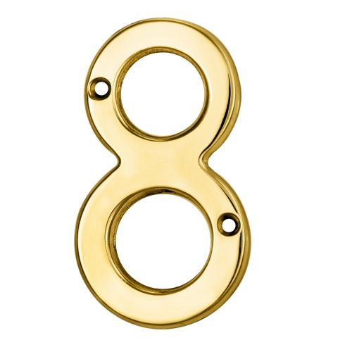 NUMERAL FACE FIX (NO.8) 76MM POLISHED BRASS