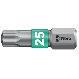 SCREWDRIVER INSERT BIT - WERA TORX TX15 X  25MM BI-TORSION EXTRA TOUGH (SILVER - IMPACT RESISTANT)