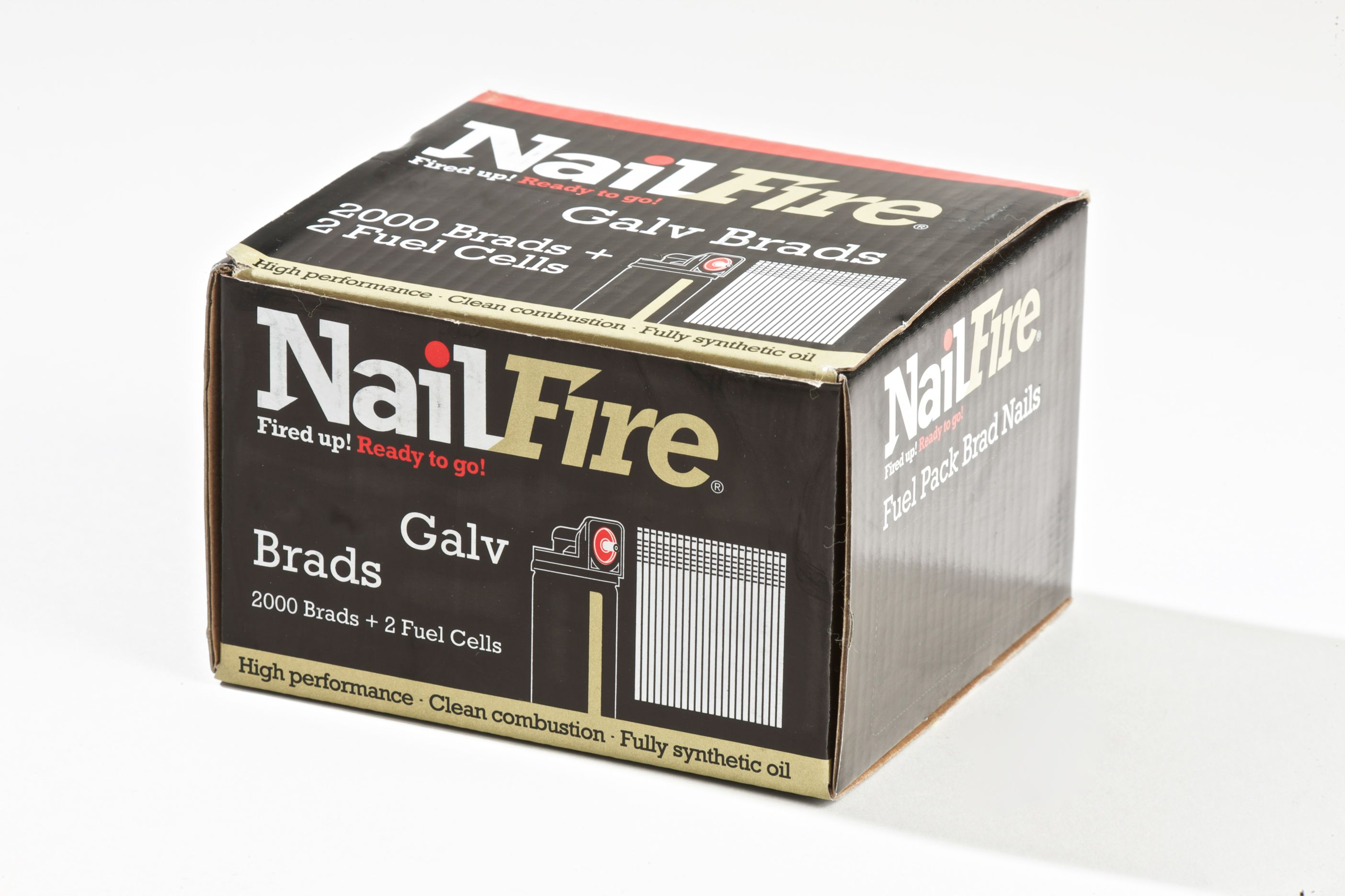 NAILFIRE 2ND FIX STRAIGHT E-GALV BRAD & FUEL PACK 64MM (TUB OF 2000)