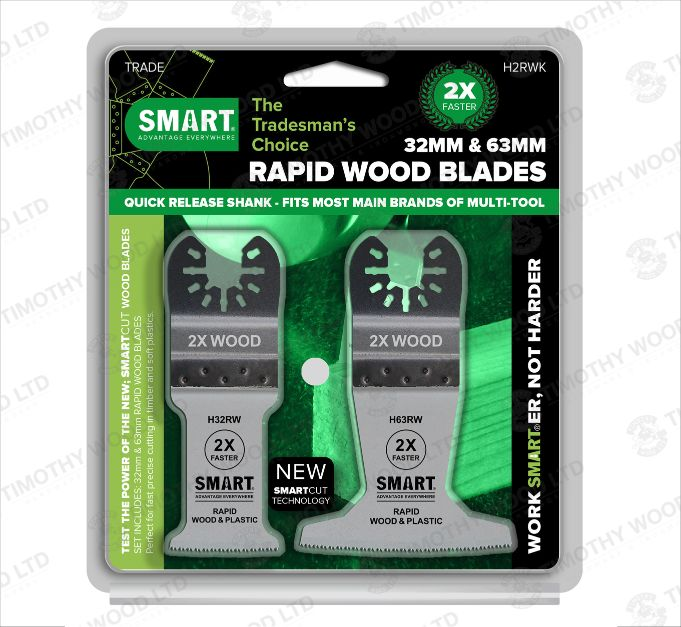 SMART TRADE - RAPID WOOD MULTI-TOOL BLADES (2 PIECE SET 1X 32MM & 63MM)