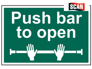 SIGN - PUSH BAR TO OPEN 300 X 200MM S/A PVC GREEN ON WHITE SCAN 1523