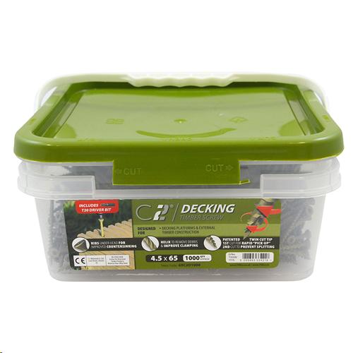 C2 ADVANCED GREEN DECKING SCREW 4.5 X 65MM (TX20 DRIVE TUB OF 1000PCS)